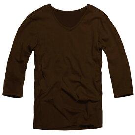 【f32】ブラウン 全11色 伸縮素材で暖かフィット オフ使いも抜群のVネックtシャツ 第2ボタン開けでワル魅せ メンズ七分袖 細 タイト s m L XL 2L 3L【あす楽対応】 夏 新作 夏服 夏物