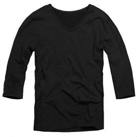 【f41】 ダークパープル 全11色 伸縮素材で暖かフィット オフ使いも抜群のVネックtシャツ 第2ボタン開けでワル魅せ メンズ七分袖 細 タイト s m L XL 2L 3L【あす楽対応】 夏 新作 夏服 夏物