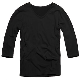 【f42】 ネイビー 全11色 伸縮素材で動きにフィット オフ使いも抜群のVネックtシャツ 第2ボタン開けでワル魅せ メンズ七分袖 細 タイト s m L XL 2L 3L【あす楽対応】 夏 新作 夏服 夏物