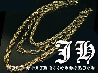 w53 3連ゴールドウォレットチェーン パンク v系 ウォレットチェーン 真鍮