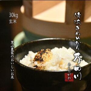 米 お米 30kg 玄米 清流きぬひかり芥田川 【送料無料】 里山農家のおいしいお米