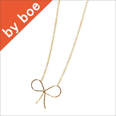 By Boe バイボー リボンネックレス Ribbon Necklace GOLD イニシャルネックレス リボンリング ブレスレットも セレブ 愛用 05P03Dec16 レディース メール便 【楽ギフ_○○】【us】■
