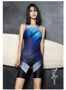 競泳水着 レディース 女性 女の子 練習 フィットネス ワンピース 五分丈 スポーツ 大きいサイズ 水泳 スイム ブルー ピンク ローズ M L XL XXL XXXL