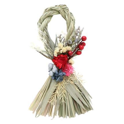お正月,迎春,飾り,しめ縄,ドライフラワー,おしゃれ,人気,ナチュラル,インテリア,ユーカリ,イグサ,グリーン,リース