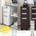 ステンレス天板すきま収納キッチンカウンター幅20.5cm(ホワイト色/ダークブラウン色)