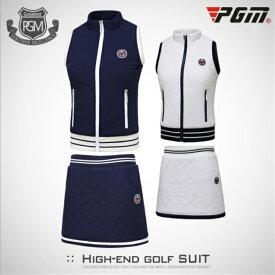 ゴルフウェア ベスト スカート レディース 暖 綺麗 ホワイト 白 ネイビー 紺 レディース ゴルフグッズ レディースゴルフウェア ゴルフ用品 可愛い 上下セット 秋 冬 スカートインナー付きM L XL