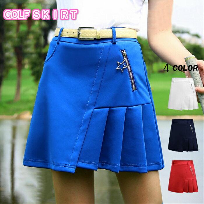 ゴルフウェア レディース ゴルフスカート スカート 無地 BLUE 青 ブルー 白 ホワイト ネイビー 紺 赤 レッド インナーパンツ付 全4色 M L おしゃれ インナーパンツ一体型 M L