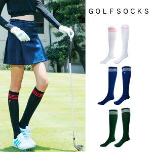 ゴルフ ソックス 靴下 ロングソックス ハイソックス ホワイト 白 ブラック 黒 ブルー 緑 グリーン 青 レディース ゴルフグッズ レディースゴルフウェア ゴルフ用品 可愛い