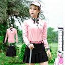 ゴルフウェア ポロシャツ 袖 ロング スカート レディース 可愛い 綺麗 ピンク pink レディース ゴルフグッズ レディー…