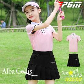 ゴルフウェア ジュニア キッズ 女の子 ガール 子供 ポロシャツ 袖 半袖 スカート レディース 可愛い 綺麗 レディース ゴルフグッズ レディースゴルフウェア ゴルフ用品 可愛い 上下セット インナーパンツ付き ピンク pink ブラック 黒