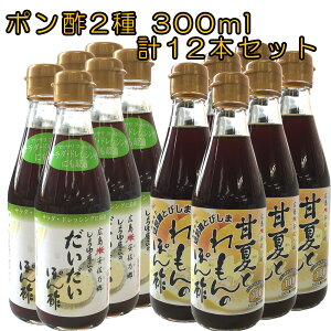 ユーメン醤油 甘夏れもんポン酢6本 だいだいポン酢6本 計12本セット(300ml) 贈答 父の日