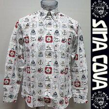 シナコバ・18秋冬AW新作・長袖プリント入りシャツ(M)(L)(LL)18224010-110