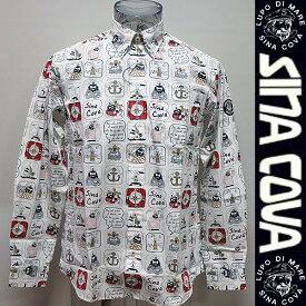 (SALE)シナコバ・18 秋冬 AW 新作・長袖プリント入りシャツ(M)(L)(LL)18224010-110