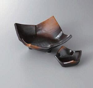 刺身皿 焼締めタタラ型三つ足刺身鉢 千代口セット 美濃焼