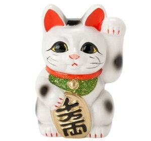 招き猫 開運 昇運 白小判猫6号左手 風水 箱入り 置物 ラッピング無料 のし無料 箱入り プレゼントやお祝い、記念日などにも
