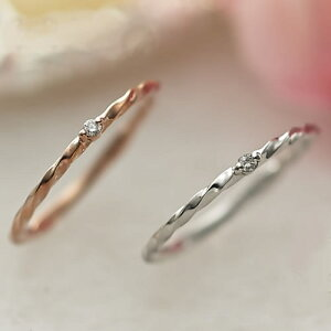 ピンキーリング 10K K10 ブランド Lエル slim twist ring ダイヤモンド ゴールド 0号 1号 2号 3号 4号 5号 6号 7号 偶数号 ゴールド ピンクゴールド ホワイトゴールド K10PG K10WG 華奢 誕生石 関節 小指 フ