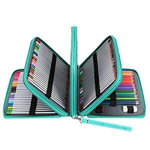 Sumnacon 202本入り PU 色鉛筆ケース 大容量 ペンケース ペンシルホルダー 色鉛筆 ペン 定規 消しゴム 文具収納 筆箱 シンプル 持ち運び便利(色鉛筆なし、グリーン)