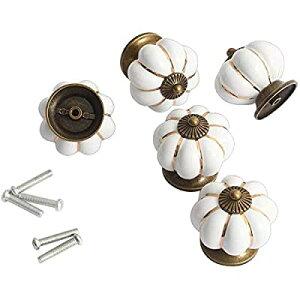 (ホン&ガーン)Hon&Guan 取っ手 取手 ドア取っ手 ハンドル ドアハンドル ノブ ドアノブ 引き出しつまみ 引き出し部品 手すり 可愛いカボチャ 5個セット (ホワイト)