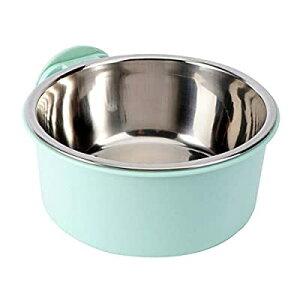ペットボウル ハンガー 固定 ゲージ用 餌入れ 水入れ 猫 犬 うさぎ 小動物用 食器 グリーン