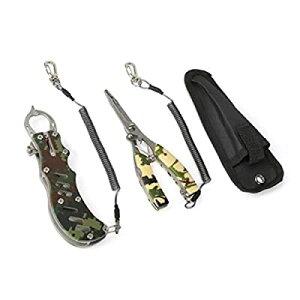 釣り具 フィッシュグリップ 多機能フィッシングプライヤー 魚バサミ 針外し ラインカッター 420ステンレス 防錆 160g 軽量 安全ロープと収納ケース付き
