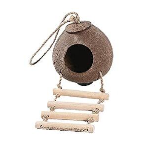 (ST TS) インコ 巣箱 鳥かご はしご 付き 小鳥 寝床 小屋 遊び場 鳥 おもちゃ 吊り下げ 木製 止まり木