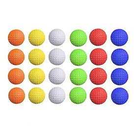 24 ゴルフ PU フォーム ボール、スポンジ ソフトボール練習用フライング ボール、ゴルフ ミックス ボール屋内/屋外パット練習器具トレーニング ボール黄色/オレンジ/白/赤/緑/紫