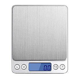 Angeno デジタルスケール 電子天秤 0.1gから3000gまで精密な計量器 風袋引き機能付き 料理用電子はかり シルバー