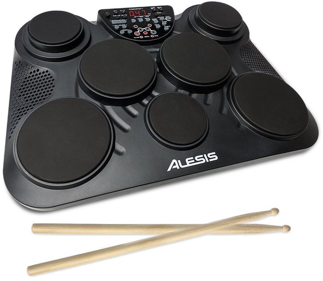 【公式 / 送料無料】Alesis ポータブル 電子ドラム キット コーチ機能 搭載 フットペダル・ドラムスティック付き 7パッド CompactKit7