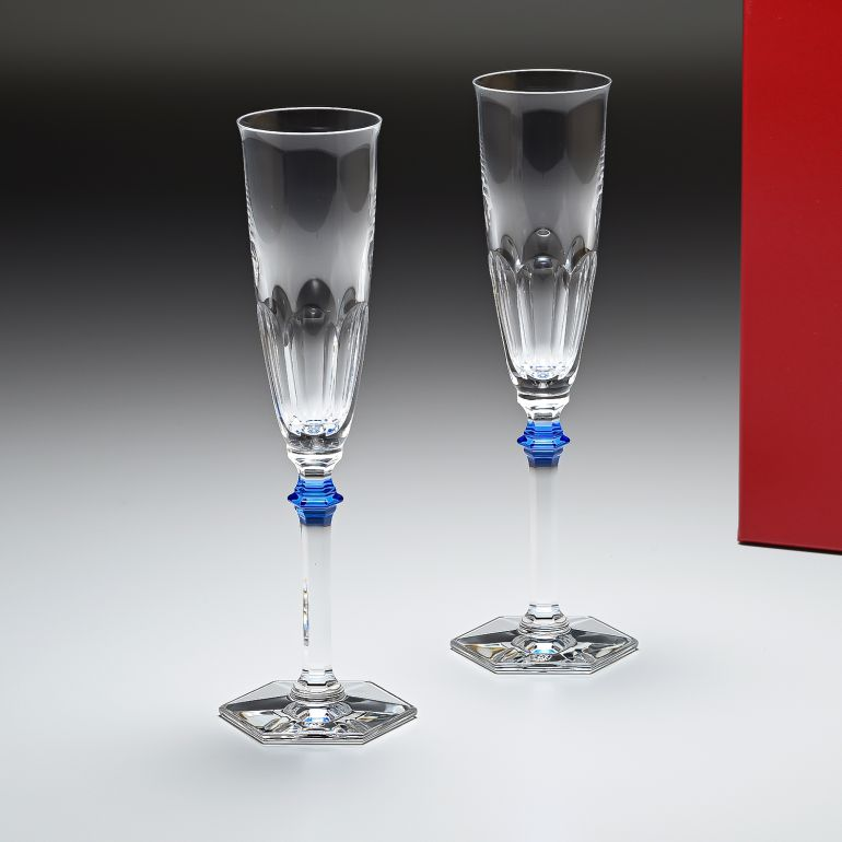バカラ Baccarat グラス シャンパンフルート ペア アルクール イヴ ブルーボタン シャンパングラス 25cm 2811092 【クリスマス Xmas ギフト】