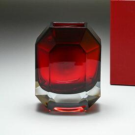 バカラ Baccarat ベース 花瓶 オクトゴン レッド 25cm 2813754
