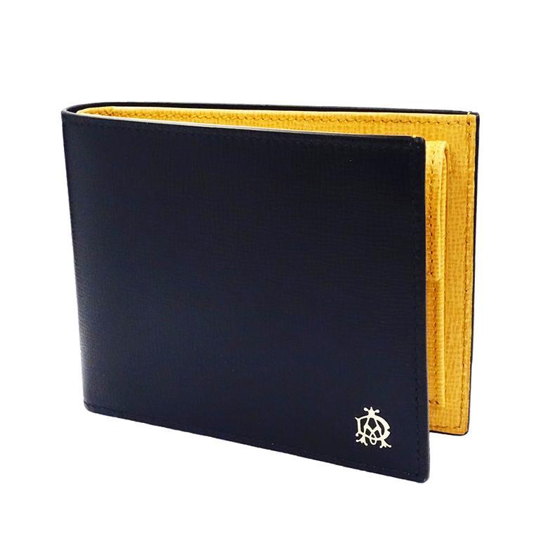ダンヒル DUNHILL 財布 二つ折り BELGRAVE NAVY ベルグレイブ ネイビー バイカラー L2T732N