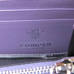 エッティンガーETTINGER財布メンズ長財布ラウンドファスナーロイヤルコレクションST2051EJRSTERLINGPURPLEブラック×パープル