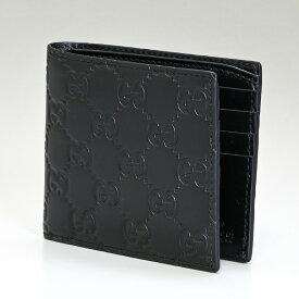 グッチ GUCCI メンズ 二つ折り財布 小銭入れなし AVEL グッチシマ シグネチャーレザー ブラック 365466 CWC1R 1000 プレゼント 実用的