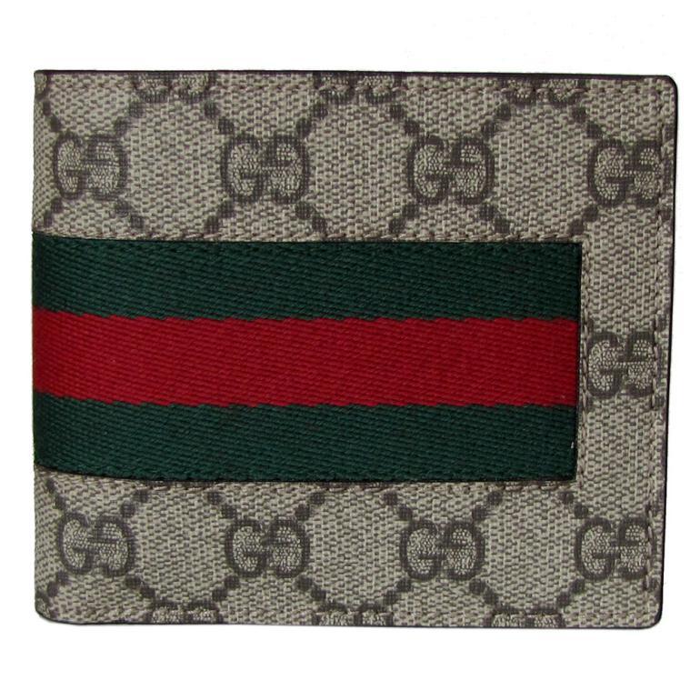 グッチ GUCCI メンズ 二つ折り財布 NEW WEB GGスプリームキャンバス ベージュ ブラウン 408826 KHN4N 9791