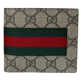 グッチ GUCCI メンズ 二つ折り財布 NEW WEB GGスプリームキャンバス ベージュ ブラウン 408826 KHN4N 9791 父の日 母の日 プレゼント 実用的
