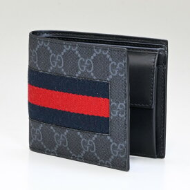 7d94b79232ff グッチ 二つ折り財布 メンズ GGスプリーム ニューウェブ ブラック 408826 KHN4N 1095 父の日