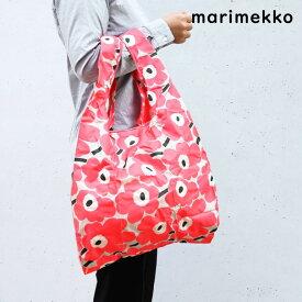 メール便可275円 マリメッコ バッグ UNIKKO ウニッコ エコバッグ 買い物袋 スマートバッグ ピンク×ダークグリーン×ベージュ 049035 361
