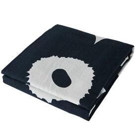 マリメッコ デュベカバー Unikko ウニッコ 掛け布団カバー シングル 150×210cm ホワイト×ダークブルー 070517 851 母の日 プレゼント 実用的