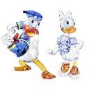 スワロフスキー SWAROVSKI クリスタルフィギュア セット ドナルドダック デイジーダック ペア Disney ディズニー 5063…