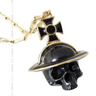 Vivienne necklace Vivienne Westwood pendant skull ORB pendant yellow gold / black VivienneWestwood