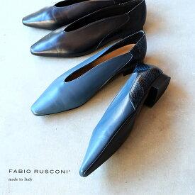 【SALE】FABIO RUSCONI ファビオルスコーニ パンプス ローヒール パイソン ブラック ブルー 本革(fabio5597)インポートシューズ