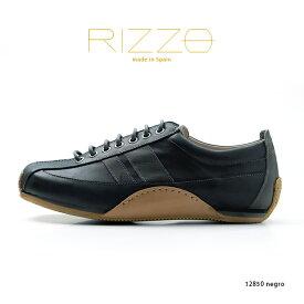 RIZZO リゾ スニーカー メンズ カジュアルシューズ スペイン製 本革 大人カジュアル(rz12850-171negro)インポートシューズ
