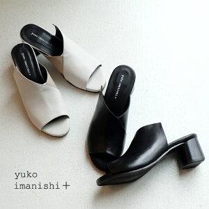 【SALE】yuko imanishi+ サンダル レディース ヒール スリッパサンダル ミュール アシンメトリー 本革 ブラック ホワイト モード 黒 (yuko702019) インポートシューズ