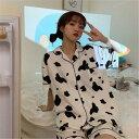 パジャマ ルームウェア 牛柄 前開き レディース 半袖 可愛い 上下セット ルームウェア 韓国風 パジャマ 部屋着 寝巻き…