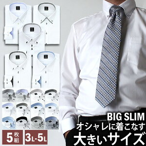ワイシャツ 長袖 大きいサイズのワイシャツ 5枚セット Yシャツ イージーケア ワイシャツ 長袖 BIG 形態安定 sun-ml-sbu-1132-5fix HC ビッグサイズ カッターシャツ 宅配便のみ テレワーク