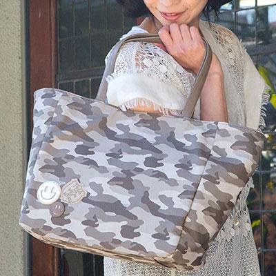 |スマイル スマイリーフェイス スマイルマーク にこちゃん カモフラージュ 迷彩柄 バッグ トートバッグ Lサイズ 軽量 本革 PVC加工 撥水