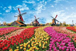 ジグソーパズル YAM-10-1342 風景 チューリップと風車小屋 (オランダ) 1000ピース パズル Puzzle ギフト 誕生日 プレゼント