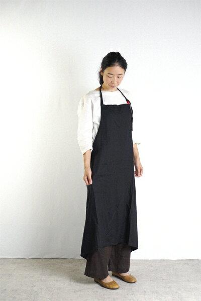 ロング丈で男女兼用エプロンプレゼントリネン100%エプロン麻大人オシャレレディースファッション
