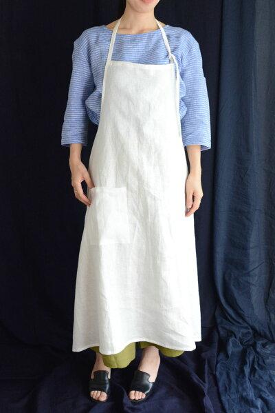 ロンク麻エプロンリネンエプロンレディースファッションユニフォームプレゼント