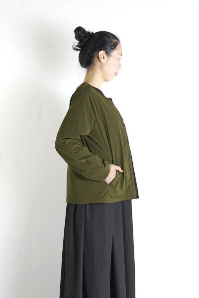 ノーカラーナイロンジャケット(薄綿入り)ナチュラル大人可愛い麻人気リンネンリネンワンピース母の日ギフト
